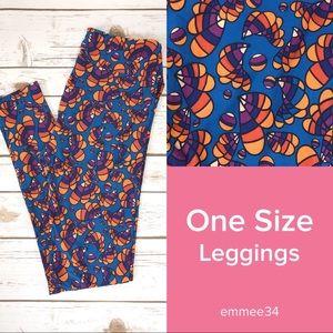 One Size Lularoe Leggings blue, orange, & purple